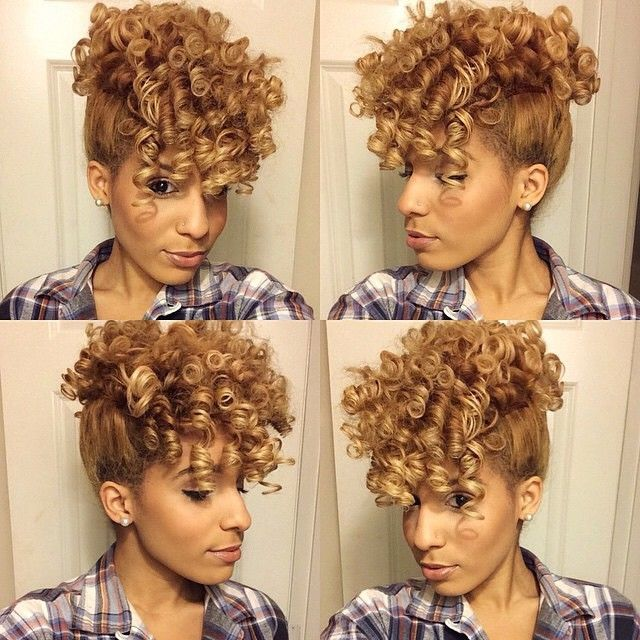 """"""" @callherdini , How I achieved my Curly Mohawk! 1. I curled my hair using flexi rods (shown in previous post)  2. Used a ponytail holder to tie up…"""""""