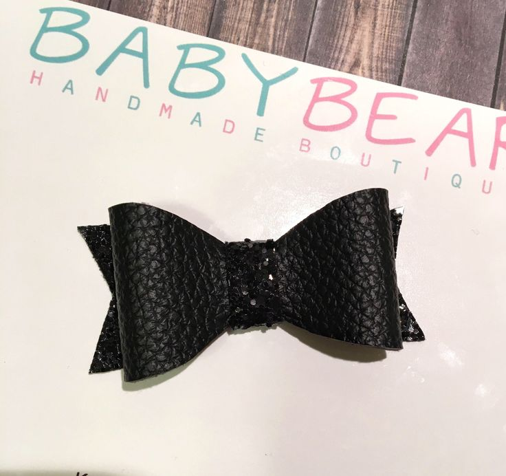 Black Hair Bow, Faux Leather Hair Bow, Glitter Bow, Newborn Headband, Girls Bow by BabyBearHandmadeB on Etsy https://www.etsy.com/ca/listing/572206385/black-hair-bow-faux-leather-hair-bow