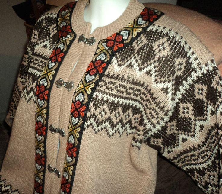 Vtg SIRIL Nordic Fair Isle Wool Cardigan sweater Tan w Brown PRISTINE Norway L? #SirilSweaterShop #Cardigan