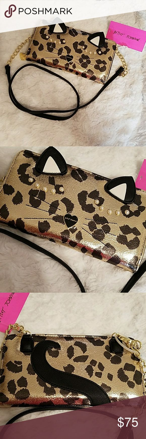 """NWT- BETSEY JOHNSON CHEETAH ON A STRING! NWT- BETSEY JOHNSON CHEETAH WALLET ON A STRING! Such a great bag just love the design the outside is so much fun this bag offers detachable cross-body strap, zipper closure at wallet compartment and zipper at coin pouch. The exterior has several awesome designs Interior has 8 wallet card slots & 2 more slots plenty of room for all your things. MEASUREMENTS: W9"""" X D1"""" X H5 1⁄2""""  NWT-BRAND NEW WITH TAGS 100% AUTHENTIC NO TRADES/NO HOLDS Betsey Johnson…"""
