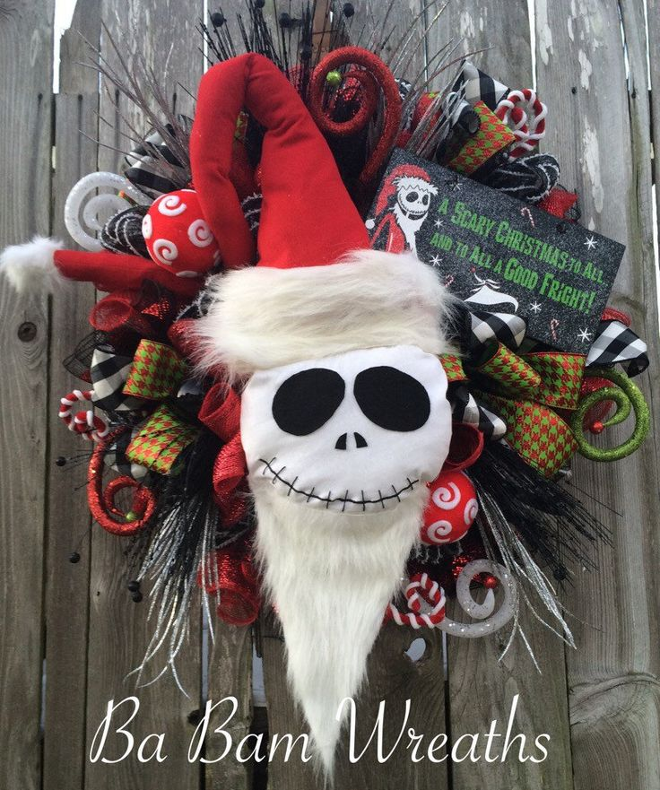 Christmas Wreath Christmas Mesh Wreath Nightmare by BaBamWreaths