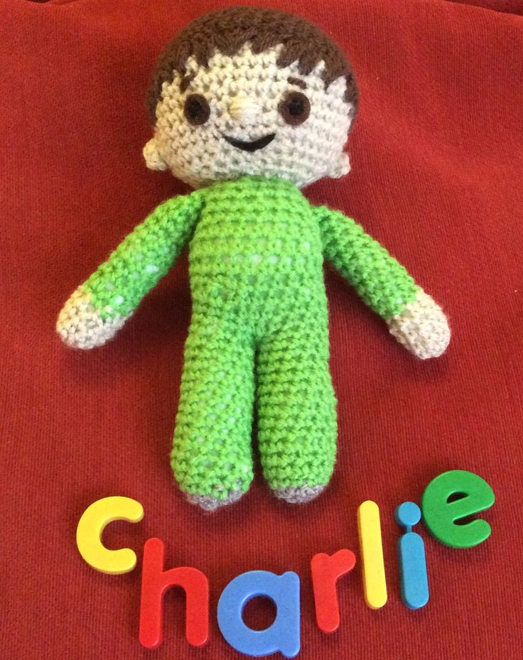 First attempt at soft toy inspired by Charlie and the Numbers tv programme. Amigurumi doll.