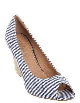 NEW Bonbons Ladies Navy Blue & White Striped Canvas Wedges / Shoes Sz 39 / 8.5