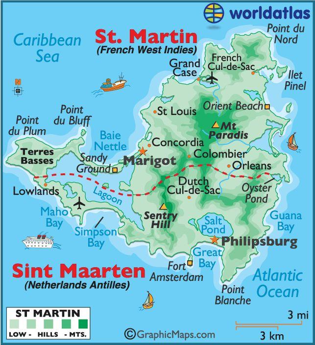 Map of Sint Maarten (Dutch) and Saint Martin (French) 1b