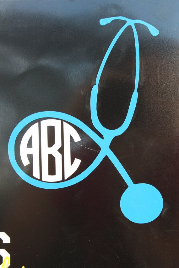 Monogrammed Stethoscope Decal - this would look great on scrubs too. Create yours with heat transfer materials and a heat press.