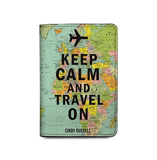 Leather Passport Holder Travel Wallet Personalized RFID, with adventure travel quote - Keep Calm and Travel On. Unique travel gifts. Practical, useful gifts for travelers on checklist of essential travel packing list. Best travel gift ideas with travel accessories, DIY gift baskets. Small cool cheap gifts for friends, men, women, world travelers. International travel, study abroad, college students, backpacking. Under 20 dollars. #gifts #traveltips #travelquotes