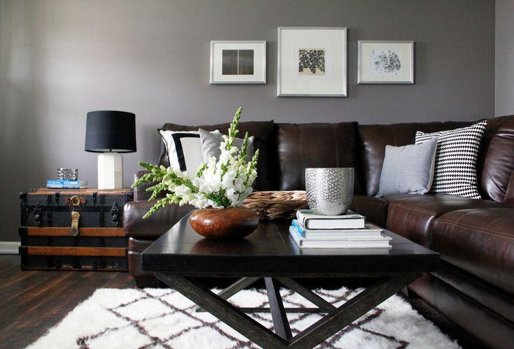 Living Room Gray Walls Brown Furniture Home Decor