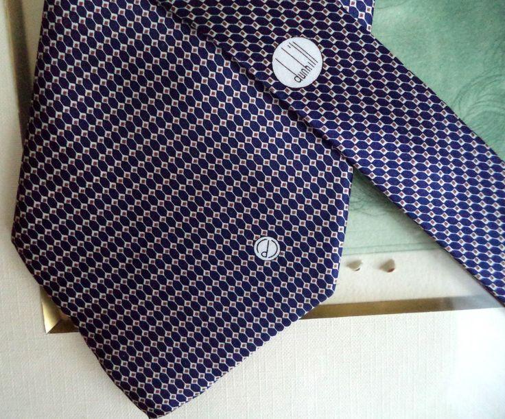 DUNHILL hand made CLASSIC navy blue geo print LOGO 60  SILK men necktie tie