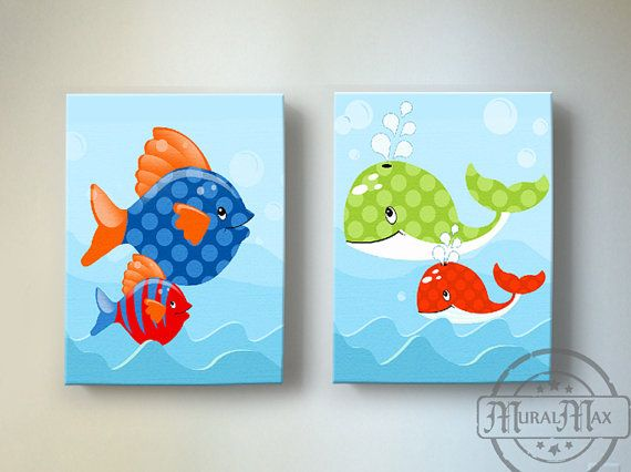 Ocean Theme Kids Wall Art, Boys wall art   - Fish And Whale Canvas Art,  Boys Room Decor , Set of two 10 x 12 Canvas Reproduction