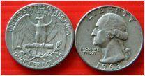 США квотер 25 центов 1963 монетный двор D Рузвельт СЕРЕБРО