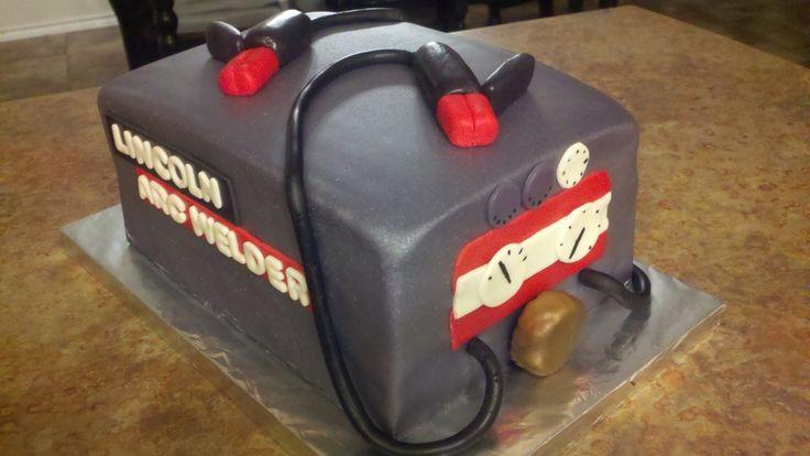 A welders birthday cake   Lincoln Arc Welder Welding Machine Grooms Cake