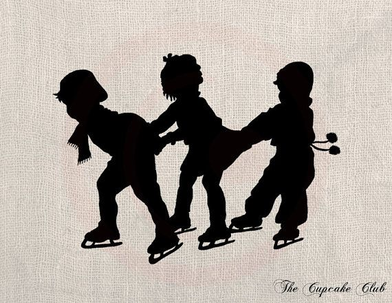 Silhouette children ice skating clip art | ... Scrapbook Shabby Chic Pillow Silhouette Ice Skating Children No. 0547