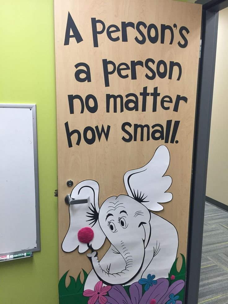 Door decor I made for my coworker. Horton Hears A Who. The flower is fuzzy!