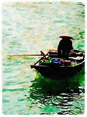 Vietnam Art Print, original art, art prints for sale, travel art, support artists, art for sale online, Society6 artist, travel, adventure, row boat, ocean, Lindsay Shapka art