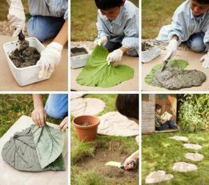 Sehe dir das Foto von Kunstfan mit dem Titel Einzigartige Garten Fliesen oder Trittsteine selber machen mit einem großen Blatt und Zement und andere inspirierende Bilder auf Spaaz.de an.