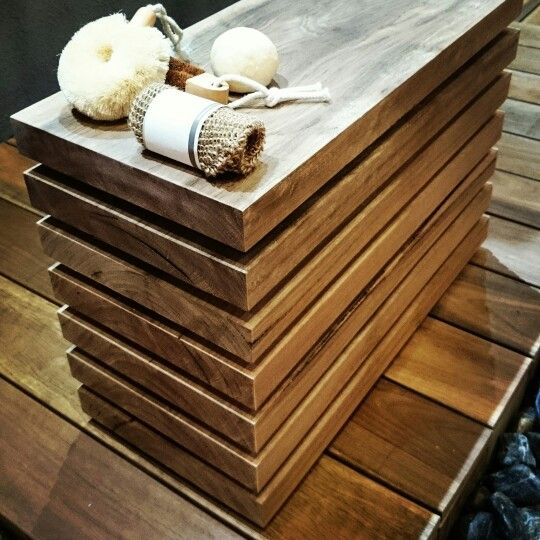 Spotted Gum shower room stool.
