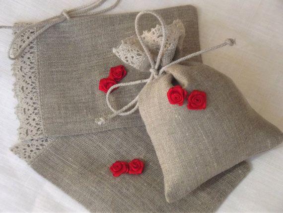 Small linen gift bags candy bar bags wedding favor by IrenGarden, $8.00