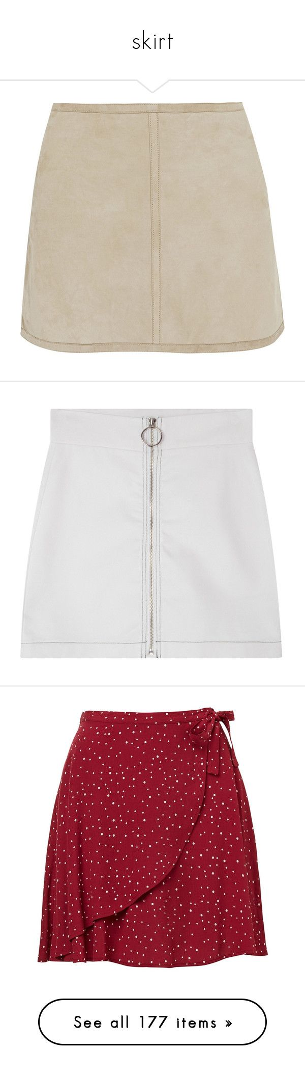"""skirt"" by petitaprenent ❤ liked on Polyvore featuring skirts, mini skirts, bottoms, saias, faldas, mini, neutrals, short mini skirts, suede leather skirt and zipper skirt"