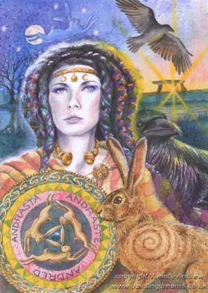 ANDRASTE was the goddess whom Boudicca invoked for victory before her onslaught of the servicemen's fort of Camulodūnom. In so invoking, Boudicca loosed a hare. He name has been analysed as *an-dras-t-ī- (un-conquer-ed-she) 'the invincible'.