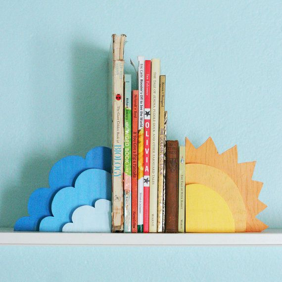 cloud/sun wooden bookends- this is really cute. Only I can't help but think of…
