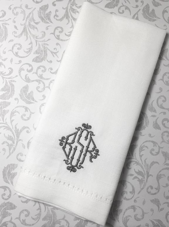 Wicker Monogrammed Cloth Dinner Napkins - Set of 4 napkins