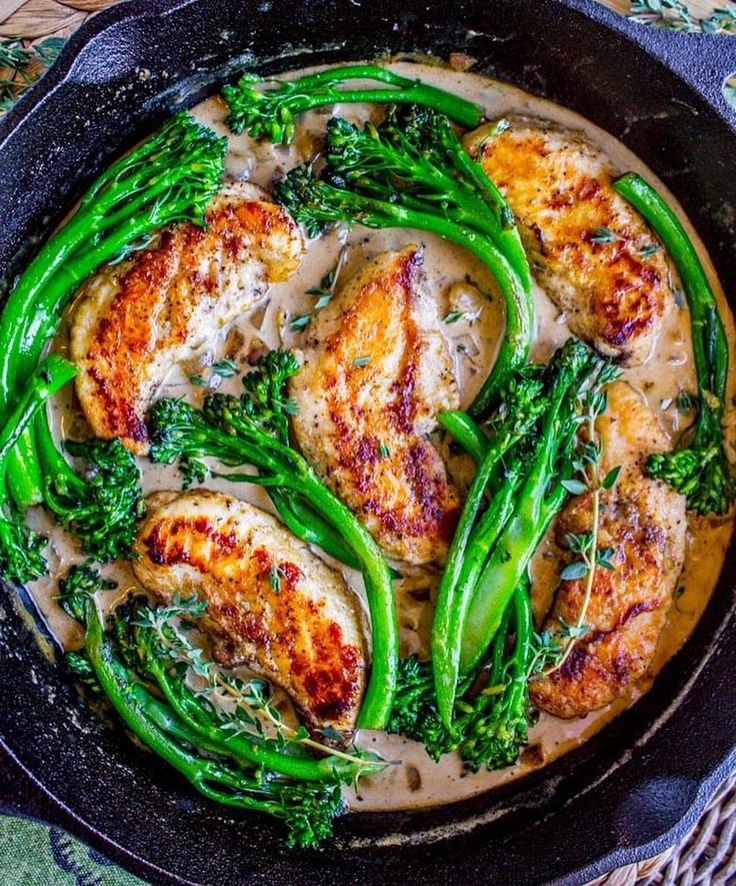 """8,571 Likes, 27 Comments - Mariam E. (@cookinwithmima) on Instagram: """"Pan-Seared Chicken and Broccolini in Creamy Mustard Sauce @thefoodcharlatan . Serves Serves 4…"""""""