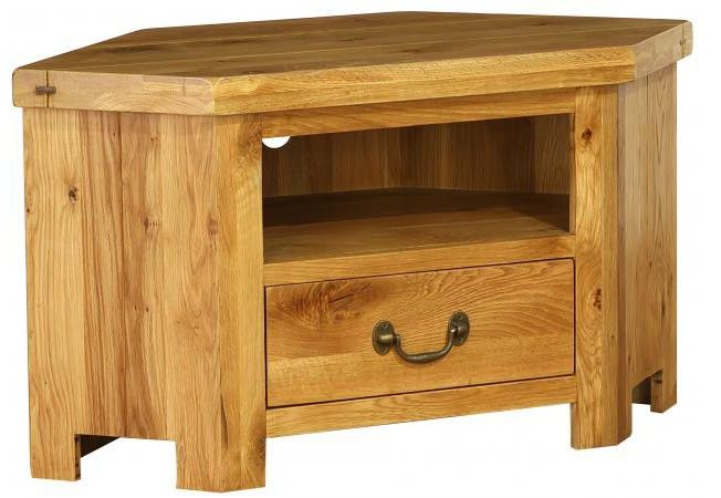 Plank Oak Corner TV Unit with Drawer