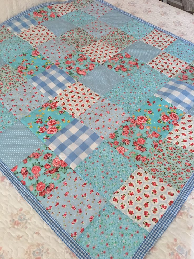 Blue patchwork quilt for sale in my shop