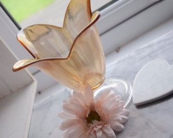 """Iridescente bronzato vetro vintage Tulip vaso o candela titolare, da 6,5"""" clear base calpestabili, regalo di nozze, centro tavola, decorazione della tavola"""