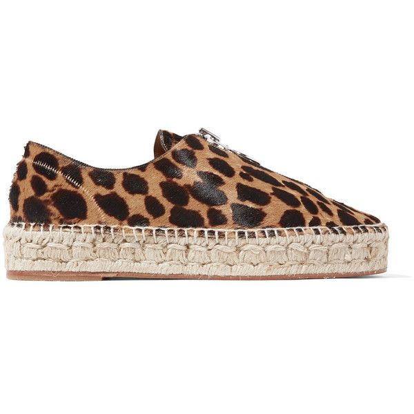 Alexander Wang Devon leopard-effect leather espadrilles ($250) ❤ liked on Polyvore featuring shoes, sandals, leopard print, multi color sandals, leopard print espadrilles, alexander wang shoes, colorful sandals and leopard espadrilles