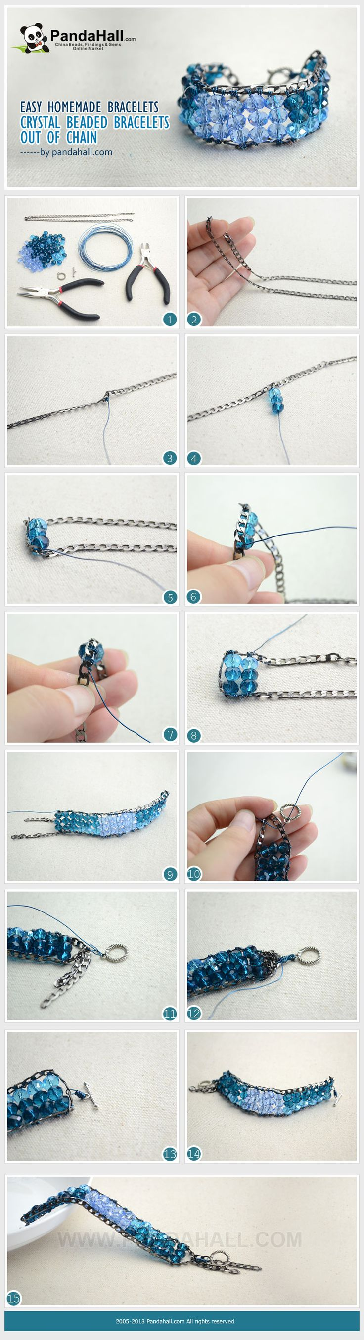 Easy Homemade Bracelets-Crystal Beaded Bracelets out of Chain from pandahall.com