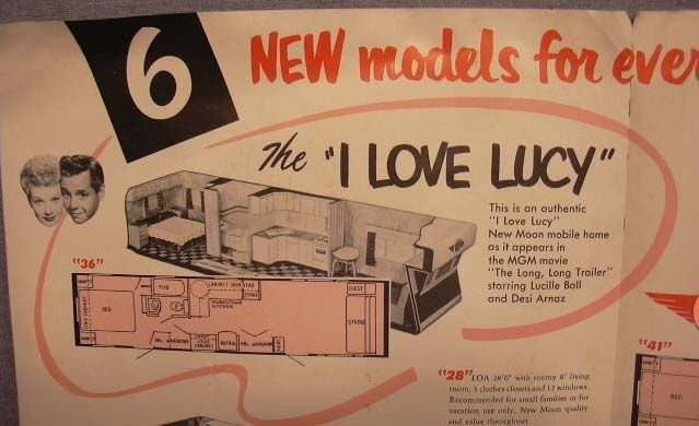 """""""This is an authentic 'I Love Lucy' New Moon mobile home as it appears in the MGM movie 'The Long, Long Trailer' starring Lucille Ball and Desi Arnaz'"""""""