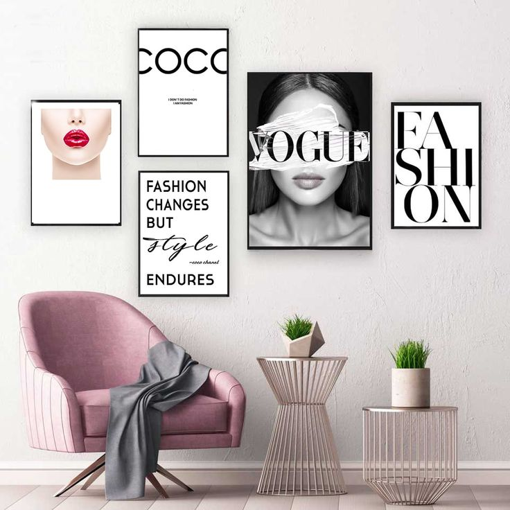 Fashion Vogue COCO Lips Sexy Girl Wall Art Canvas Poster Minimalist Print Painting Wall Picture for