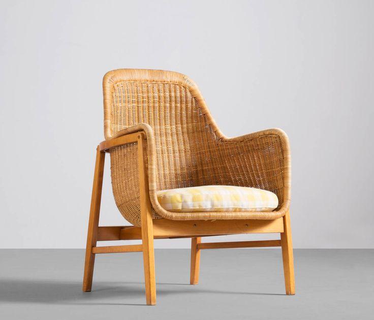 Swedish Wicker Easy Chair by Sven Engström & Gunnar Myrstrand, 1960s image 2