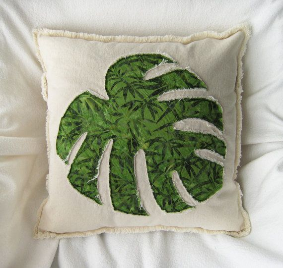 Tropical leaf pillow cover in green bamboo design batik and natural distressed denim boho pillow cover 18""