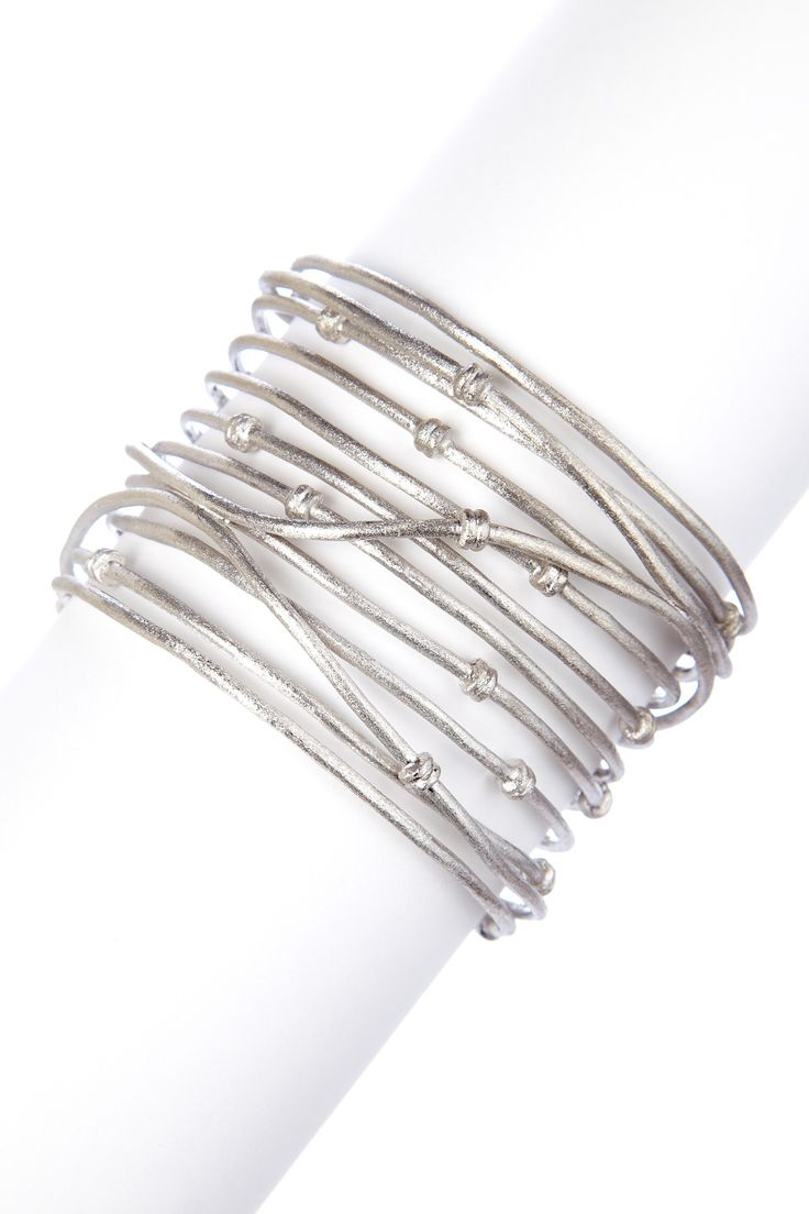 White Rhodium Clad Wrapped Knotted Mina Cuff
