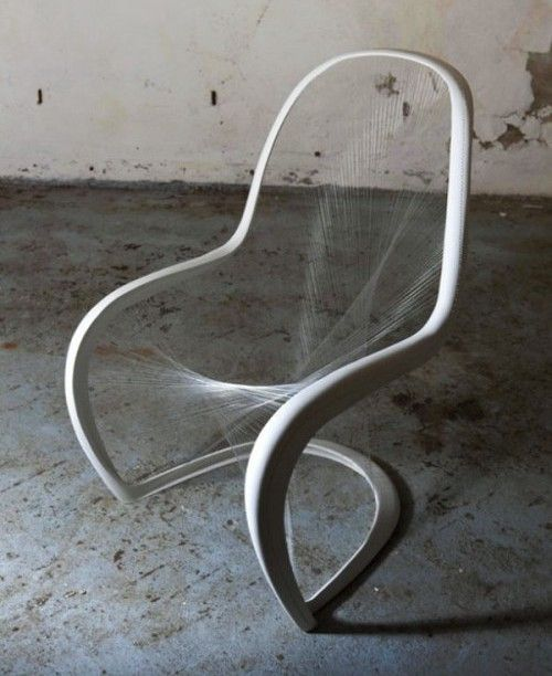 """Perfection. Via SpaceInvading, customised Panton Chairs by architects and designers who were asked to """"present their unique idea for the classic design piece"""" by Vitra. Above, the winner of the British Panton Chair Competition by Jump Studios."""