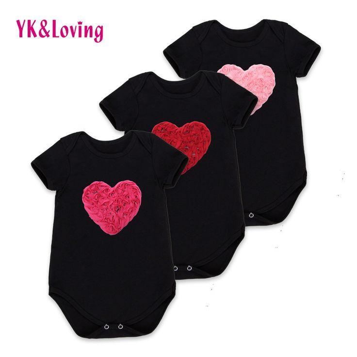 תינוק לב אהבת בגד גוף שחור כותנה קצרה סרבל תינוקות תלבושות יילוד בגדי יום הולדת יפה ילדה 2017 קיץ R127S