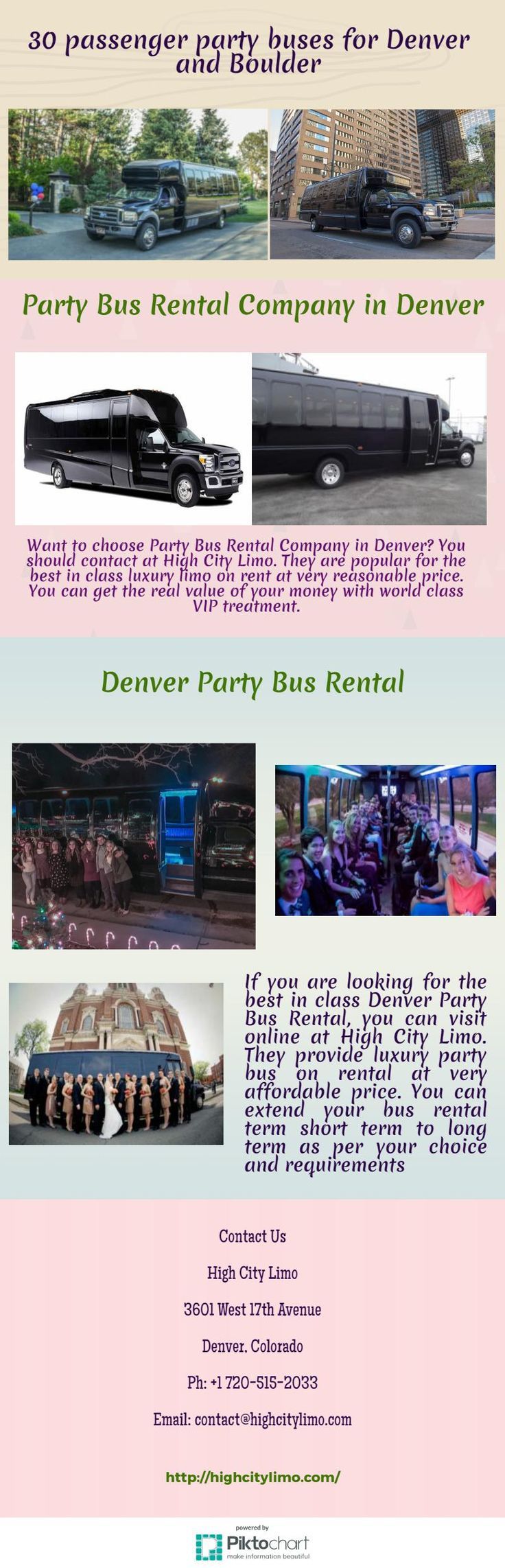 If you are looking for the best in class Denver Party Bus Rental, you can visit online at High City Limo. They provide luxury party bus on rental at very affordable price. You can extend your bus rental term short term to long term as per your choice and requirements.