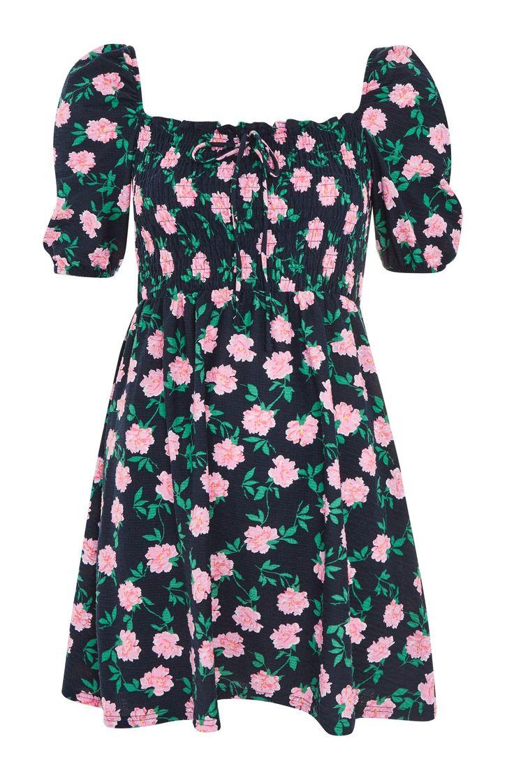Floral Print Shirred Bardot Skater Dress