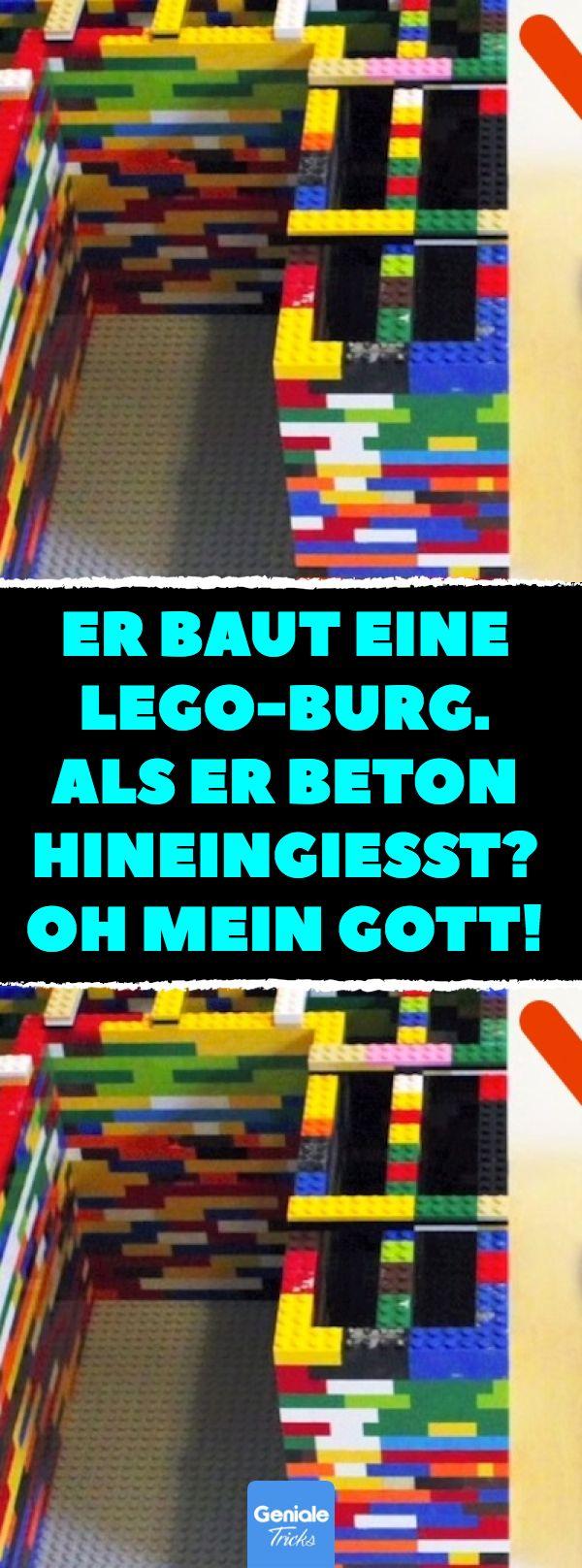Er baut eine Lego-Burg. Als er Beton hineingießt?…