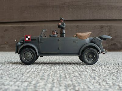 Here are some images of Tamiyas 1/35 scale S.gl.Pkw. Steyr Kommandeurwagen. This was the vehicle of choice for high ranking Germ...