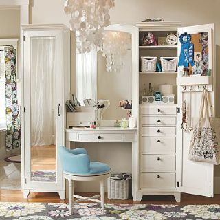 vanity with full length mirror  ALWAYS need statement rug