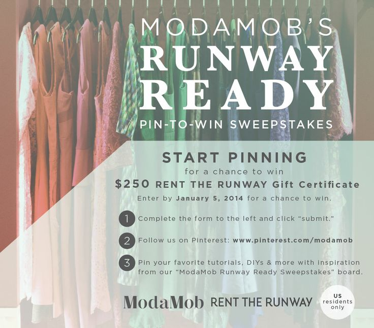 More info: http://www.modamob.com/rent-runway/modamobs-runway-ready-pinterest-sweepstakes.html *THIS CONTEST IS OVER*