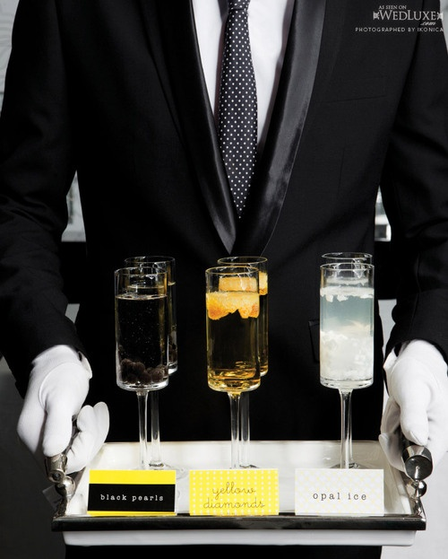 Elegant!: Black Ties, Signature Drinks, White Gloves, Drinks Anion, Theme Drinks, Luxury Suits And Drinks, Yellow Diamonds, Black Pearls, Drinks Trays