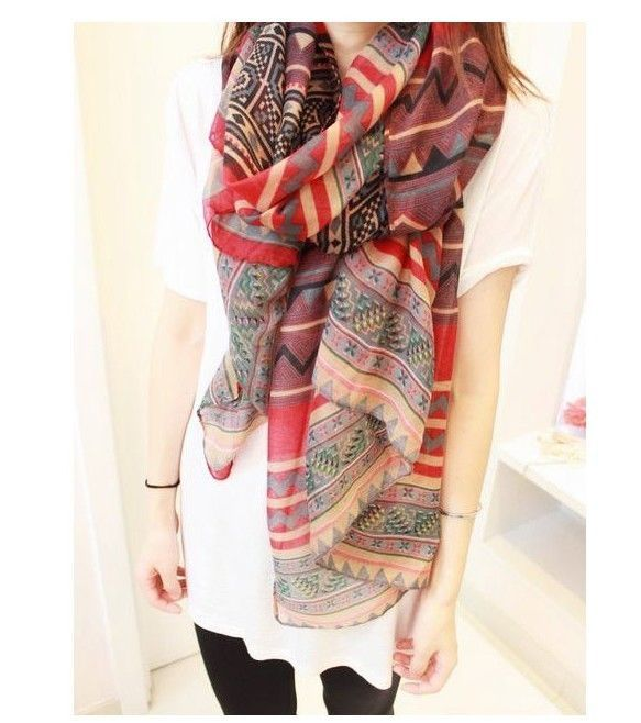 New Women Long Voile Tribal Aztec Scarf Shawl Muslim Hijab Beach Hmong Scarves