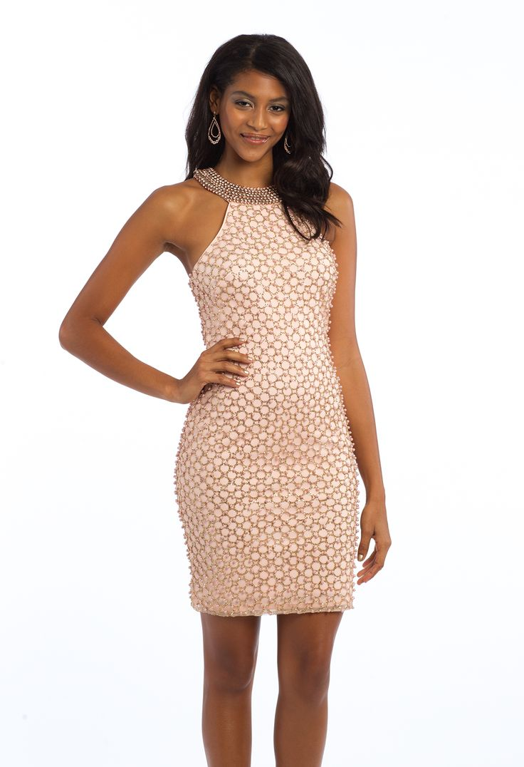 Sparkle and shine in this short evening dress! With its Cleo collar neckline, beaded bodice, and keyhole back, this cocktail dress works for any semi-formal event on your calendar. #camillelavie