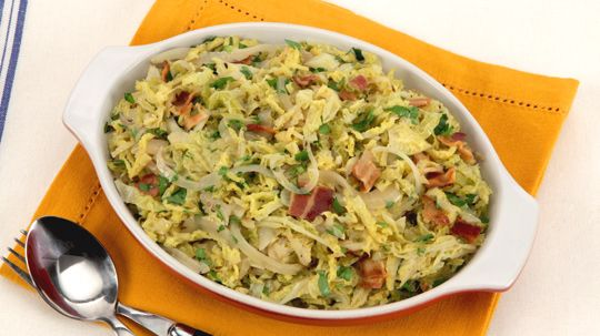 Braised Cabbage with Bacon and Onions - Recipes - Best Recipes Ever - Savoy cabbage, which is more delicate and mellow than its green cousin, makes a fabulous side dish.
