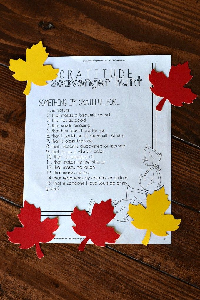 Thanksgiving Day Activities for Kids - Gratitude Scavenger Hunt by This Little Home of Mine