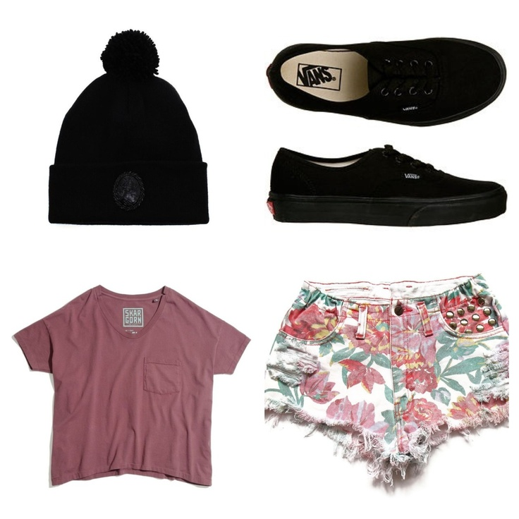 Cute outfit ( black beanie graphic shirt floral high-waisted shorts and black vans | Fashion ...